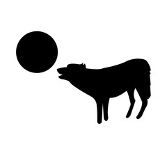 wolf howling at the moon silhouette on white background, in balck
