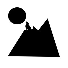 wolf howling at the moon silhouette on white background, in black on the top of the mountain