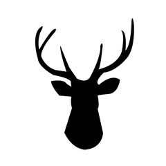 deer head silhouette clip art on white background, in black
