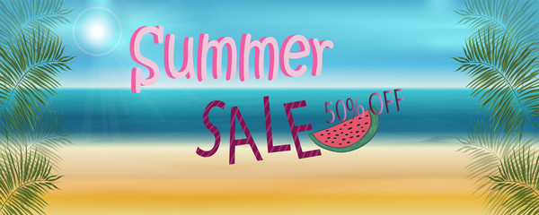 vector banner summer discount on the beach with sea