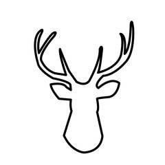 deer head outline clip art on white background