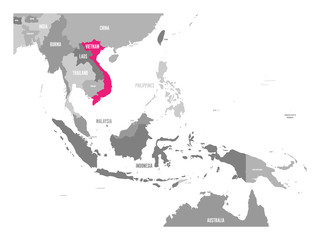 Vector map of Vietnam. Pink highlighted in Southeast Asia region.