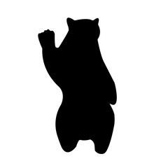 black bear silhouette clip art on white background, in black, standing up on feet for attacking with paws