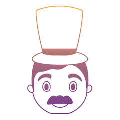 cartoon man with mustache and top hat over white background, colorful design. vector illustration