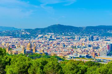 Aerial view of Barcelona dominated by MNAC - Museu Nacional d'Art de Catalunya