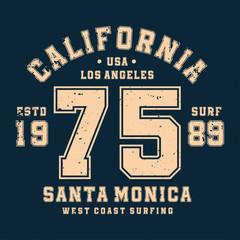 Surfing, California t-shirt design, badge for athletic shirt print. Varsity style t-shirt graphics