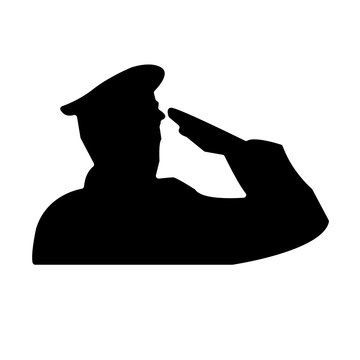 saluting soldier silhouette on white background, in black, wearing hat
