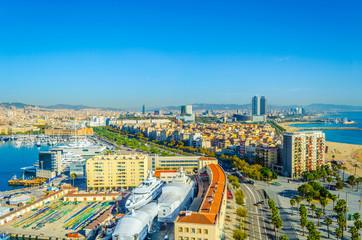 Aerial view of Barceloneta neighborhood in Barcelona, Spain