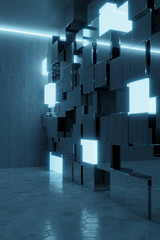 3d rendering of abstract background with blue light and stacked glass cubes