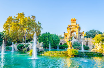 cascada monumental fountain in the ciutadella park Barcelona, Spain.