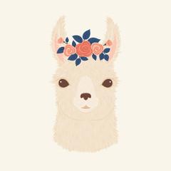 Llama in a floral wreath vector illustration