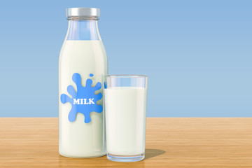 Bottle with milk and glass of milk on wooden table, 3D rendering