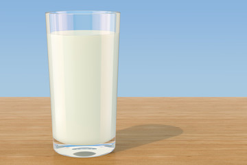 Glass of milk on the wooden table, 3D rendering