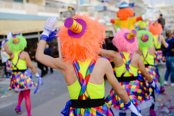 Carnival street music dancing performers party outdoors background