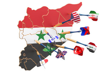 Syrian political and war conflict concept, 3D rendering
