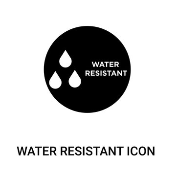 water resistant icon on white background, in black, vector icon illustration