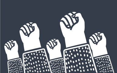 Clenched fists raised in protest. Retro style poster. Protest, strength, freedom, revolution, rebel, revolt concept.  Fototapete