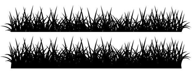 Black silhouette of grass, isolated on white background