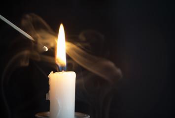 Candle Embraced by Smoke