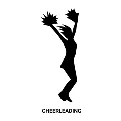 cheerleading silhouette isolated on white background