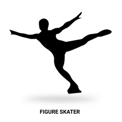 figure skater silhouette isolated on white background