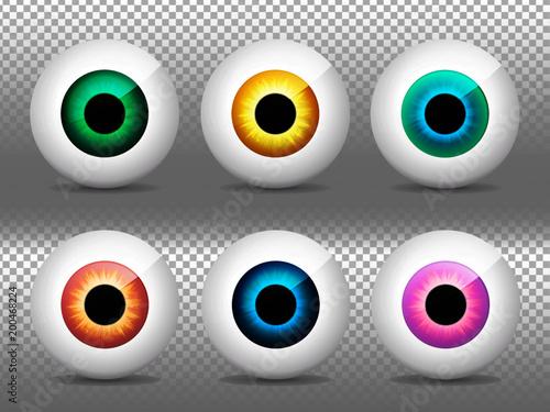 eyes set realistic 3d eyeballs vector illustration real human iris