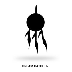 dream catcher silhouette isolated on white background
