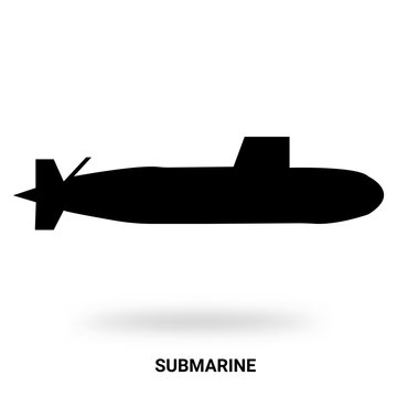 submarine silhouette isolated on white background