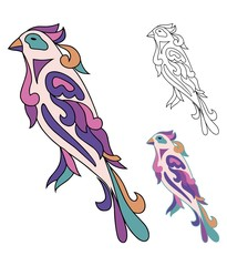 Bird from ornaments colored and sketch