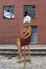 Woman wearing a towel