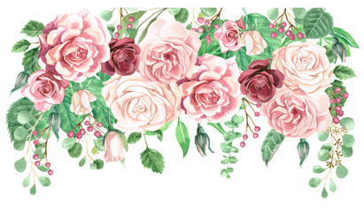 Watercolor Roses and Greenery Foliage Drop Frame