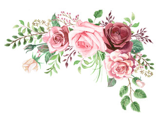Watercolor Roses and Greenery Foliage Corner Wall mural