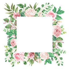 Watercolor Roses and Greenery Foliage Frame