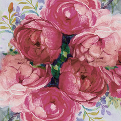 Wall Murals Candy pink Painting art watercolor landscape pink color of the roses.