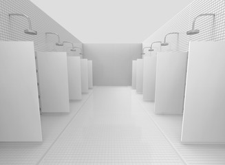 3d rendering. Public outdoor Shower place in white color tone concept.