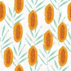 Hand drawn papaya seamless textural pattern.
