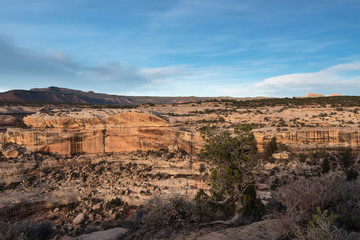 Natural Bridges National Monument at sunset.  Located in southern Utah with Bears Ears in the distance.