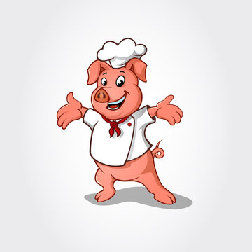 Pig chef cartoon character. Vector clip art illustration with simple gradients.