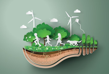 Concept of ecology  and environment with children running in the  park . Paper art and digital craft style.. Wall mural