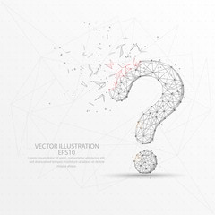 Question mark digitally drawn low poly triangle wire frame.
