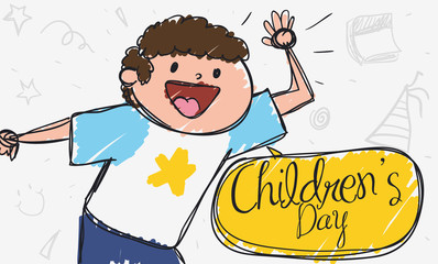 Cute Doodle with Boy Saluting at You in Children's Day, Vector Illustration