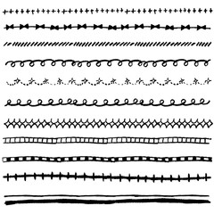 手書き チョークとクレヨンの素材 線1