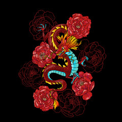 Chinese dragons and peonies. Vector seamless pattern