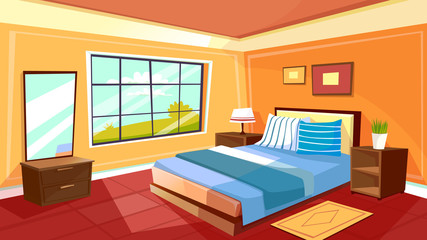 Vector cartoon bedroom interior background template. Cozy modern house room in morning light. Illustration with sofa, mirror, big window, nightstand with lamp, carpet, plant in pot, wall pictures