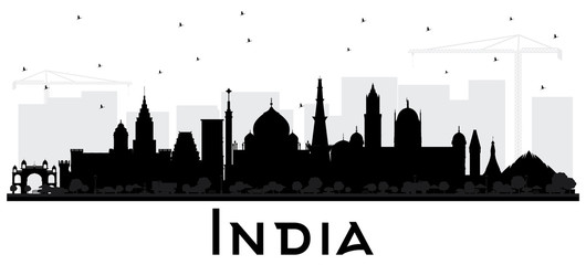 India City Skyline Silhouette with Black Buildings Isolated on White.