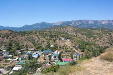 Magnificent view of the mountains and houses of the peninsula Crimea.