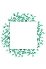 A square frame with watercolor-drawn green leaves on a white background. Isolated and space for your text.
