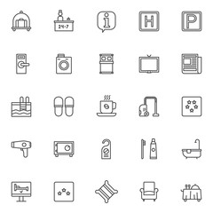 Hotel elements outline icons set. linear style symbols collection, line signs pack vector graphics. Set includes icons as hotel luggage cart with suitcase, reception service and receptionist, parking