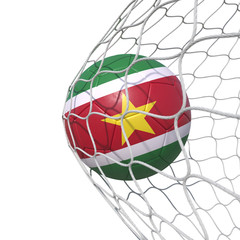 Surinam Suriname Surinamese flag soccer ball inside the net, in a net.