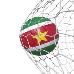 Surinam Suriname Surinamese flag soccer ball inside the net, in a net.